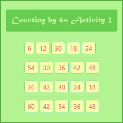 Counting by 6s Activity 2 | Number Patterns and Skip
