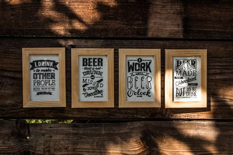 Beer Quotes & Alcoholic Proverbs // gravure sur bois