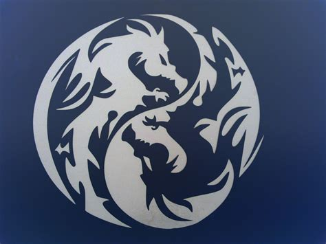 black white Dragon Ying Yang Twin Dragons – Abstract Other
