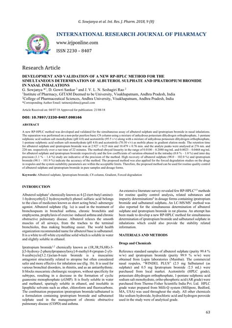 (PDF) DEVELOPMENT AND VALIDATION OF A NEW RP-HPLC METHOD