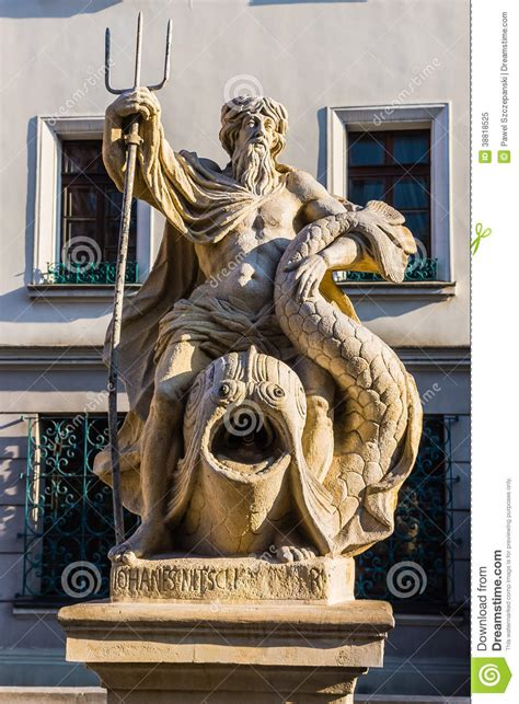 The fountain of Neptune stock image