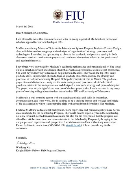 FIU Scholarship Recommendation letter for Madhura