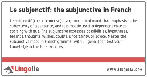 Le subjonctif: the subjunctive in French