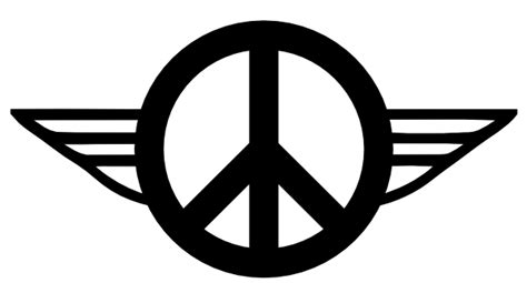Retro Peace Symbol With Wings Outline Clip Art at Clker
