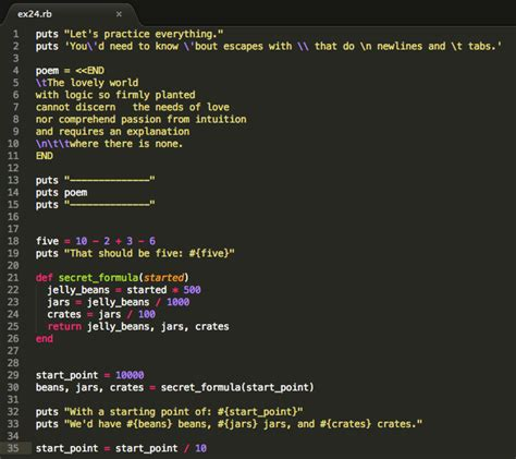 Learn Ruby the Hard Way – Exercise 24 More Practice